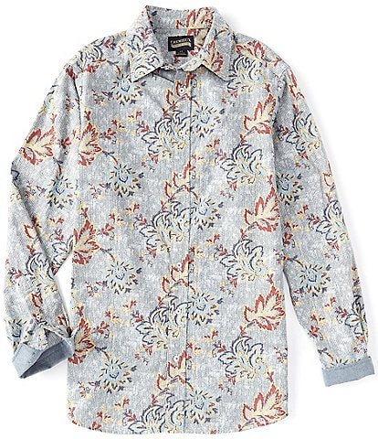 Cremieux Big & Tall Floral Stripe Long-Sleeve Woven Shirt