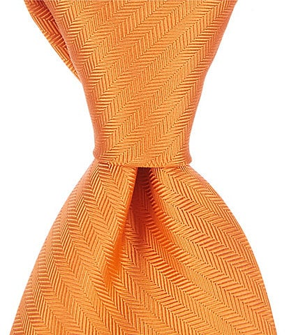 Cremieux Big & Tall Herringbone Solid Traditional 3 3/8#double; Silk Tie