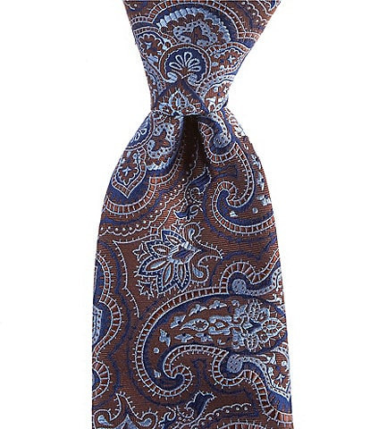 Cremieux Big & Tall Twill Paisley Traditional 3.25#double; Silk Tie