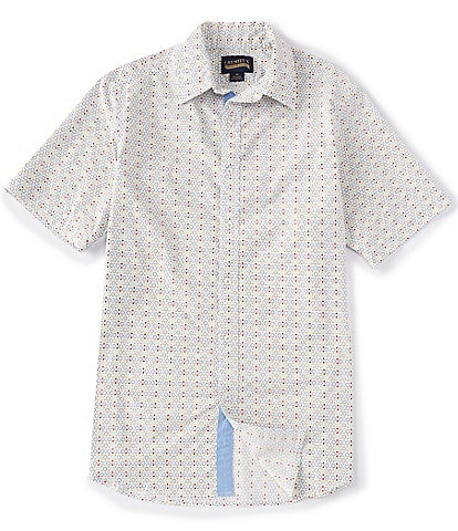 Cremieux Big and Tall Geometric Dots Print Short-Sleeve Stretch Woven Shirt