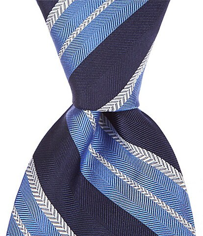 Cremieux Buckley Stripe Traditional 3 1/4#double; Silk Tie