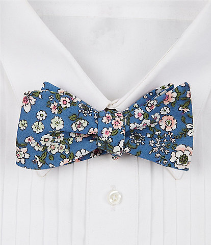 Cremieux Chambray Floral Cotton Bow Tie