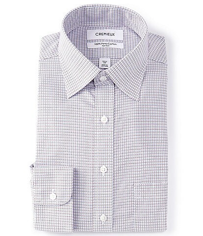 Cremieux Classic Fit Spread Collar Red Multi-Colored Dobby Dress Shirt