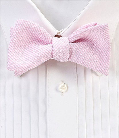 Cremieux Derby Seersucker Stripe Bow Tie