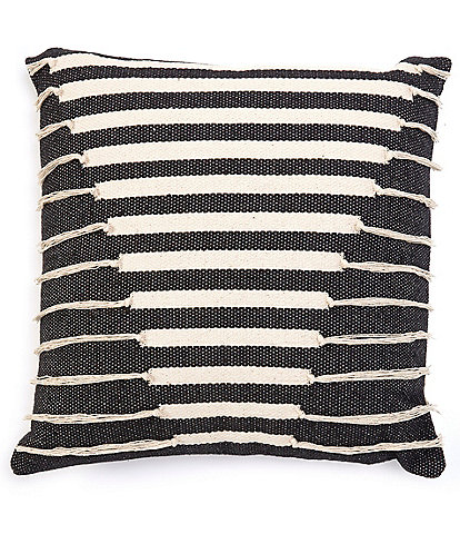 Cremieux Fringed Striped Square Pillow