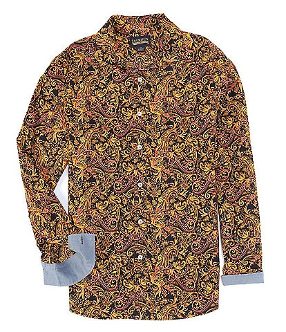 Cremieux Jeans Big & Tall Paisley Stretch Black Long-Sleeve Woven Shirt