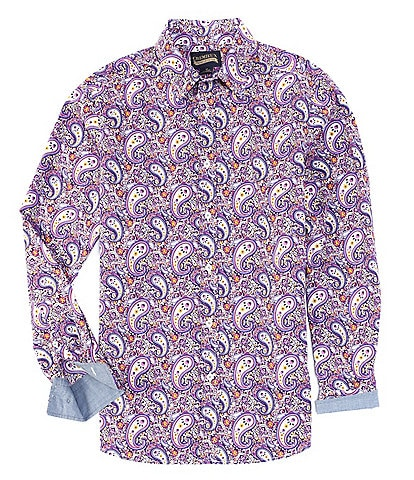 Cremieux Jeans Big & Tall Paisley Stretch Long-Sleeve Woven Shirt