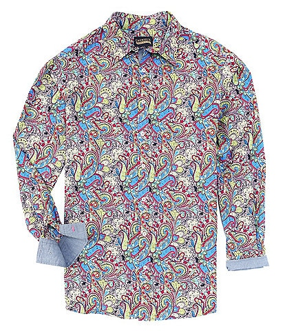 Cremieux Jeans Big & Tall Paisley Stretch Multi-Color Long-Sleeve Woven Shirt
