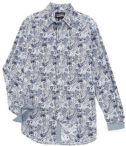 Cremieux Jeans Paisley Blue Stretch Long-Sleeve Woven Shirt