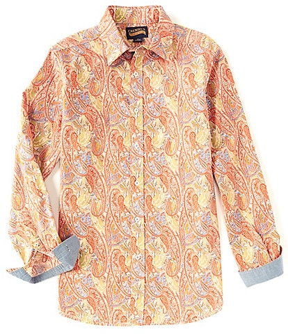 Cremieux Jeans Paisley Stretch Cream Long-Sleeve Woven Shirt