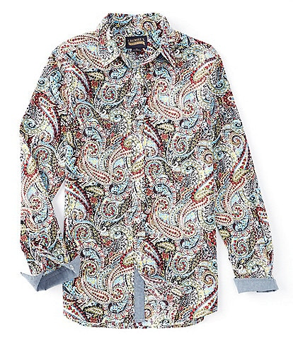 Cremieux Jeans Paisley Stretch White Long-Sleeve Woven Shirt
