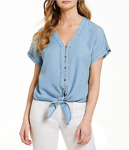 Cremieux Jessica Chambray Button Front Tie Blouse