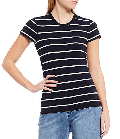 Cremieux June Striped Knit Short Sleeve Tee
