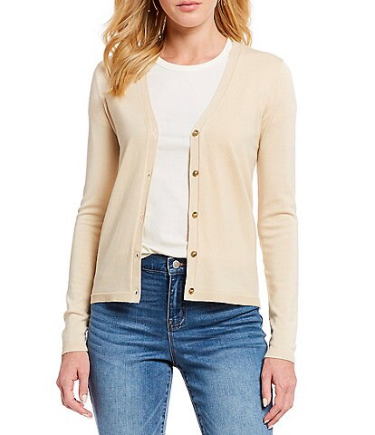 Cremieux Laura Button Front V-Neck Cardigan