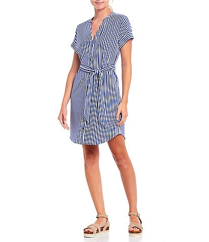 Cremieux Lauren French Terry Knit Stripe V-Neck Short Sleeve Dress