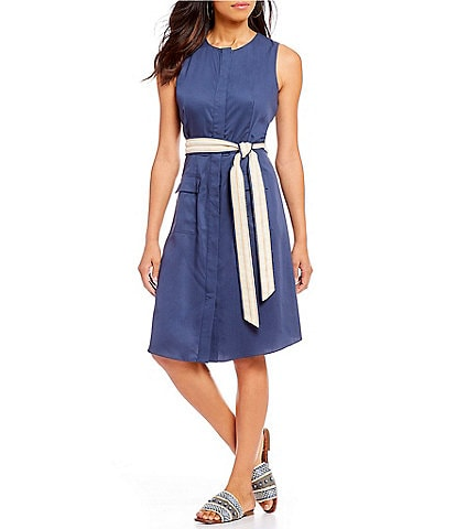 Cremieux Lico Pocket Front Belted Button Up Midi Dress