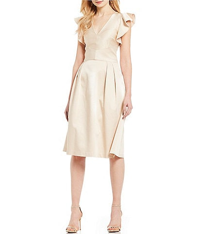 Cremieux Mary Lou Ruffled Statement Sleeve V-Neck A-Line Midi Dress