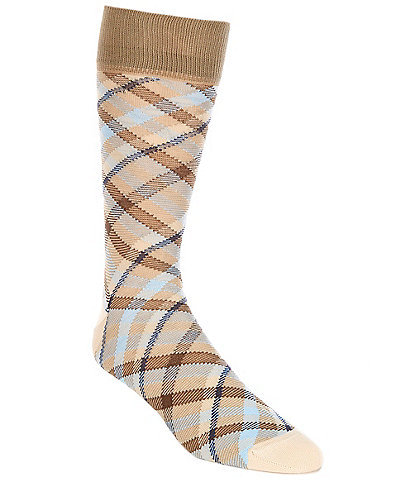 Cremieux Mercerized Diagonal Plaid Crew Socks