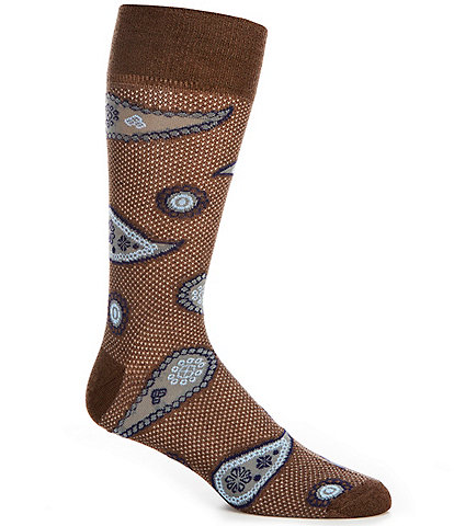 Cremieux Mercerized Paisley Crew Socks