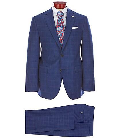 Cremieux Modern Fit Blue Plaid Flat Front Wool Suit