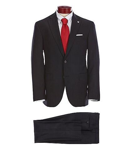 Cremieux Modern-Fit Flat Front Solid Black Wool Suit