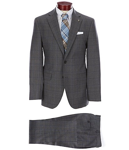 Cremieux Modern Fit Grey Windowpane Pleated Modern Fit Wool Suit