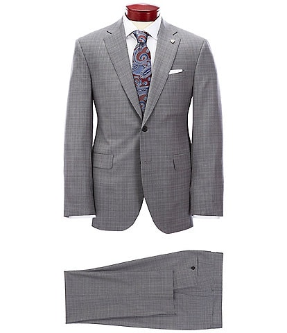 Cremieux Modern Fit Micro Plaid Grey Wool Suit