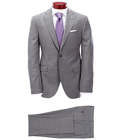 Cremieux Modern Fit Pleated Micro Plaid Wool Suit