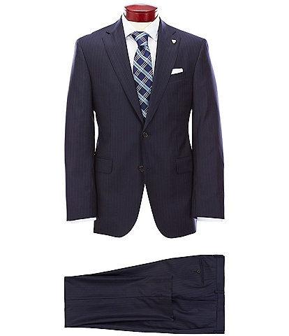Cremieux Modern Fit Navy Stripe Wool Suit