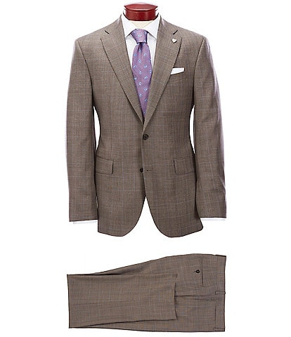 Cremieux Modern Fit Flat Front Plaid Tan Wool Suit