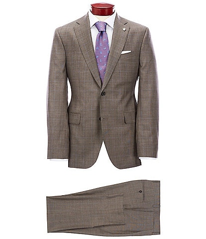 Cremieux Modern Fit Plaid Tan Wool Suit