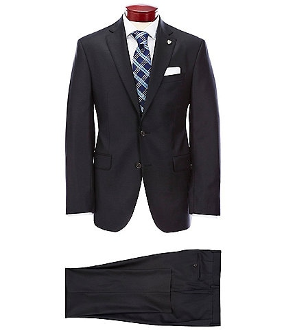 Cremieux Modern Fit Solid Black Wool Suit