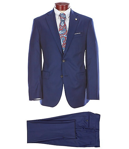 Cremieux Modern Fit Solid Blue Pleated Wool Suit