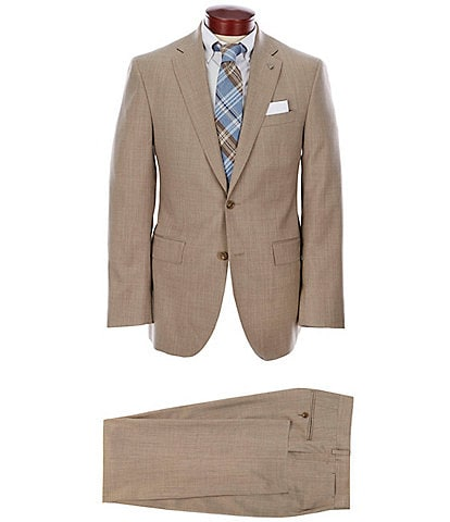 Cremieux Modern Fit Solid Tan Pleated Wool Suit