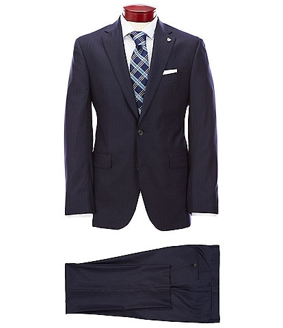 Cremieux Modern Fit Striped Navy Wool Suit