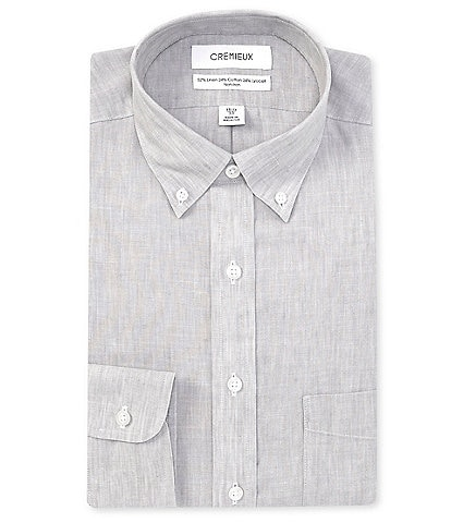 Cremieux Non-Iron Classic Fit Button-Down Collar Solid Linen Dress Shirt