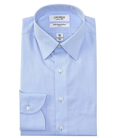 Cremieux Non-Iron Classic Fit Spread Collar Solid Twill Dress Shirt