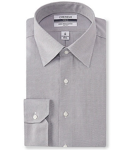 Cremieux Non-Iron Slim-Fit Spread Collar Basketweave Dress Shirt