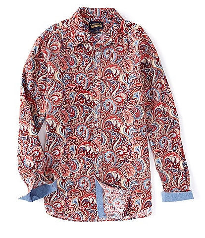 Cremieux Paisley Print Red Stretch Long-Sleeve Woven Shirt