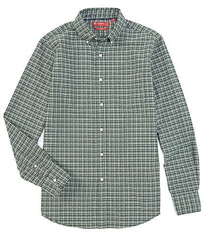 Cremieux Slim-Fit Plaid Oxford Green Long-Sleeve Woven