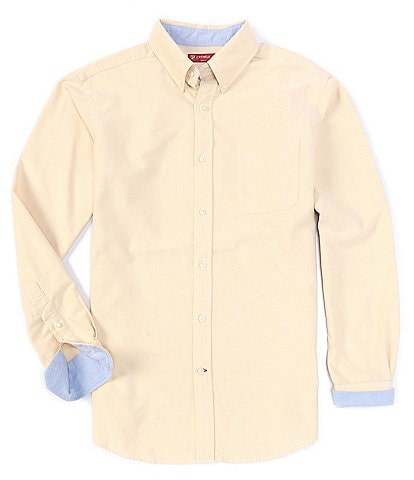 Cremieux Slim-Fit Solid Oxford Long-Sleeve Contrast Cuff Woven Shirt