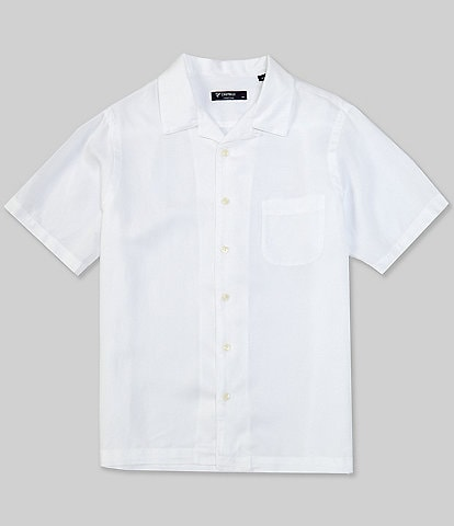 Cremieux Solid Cream Short-Sleeve Woven Camp Shirt