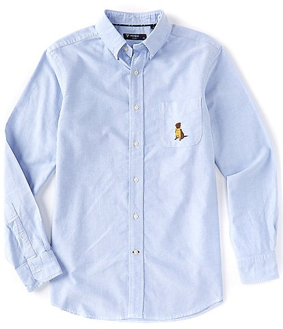 Cremieux Solid Oxford Long-Sleeve Dog Stitch Detail Woven Shirt