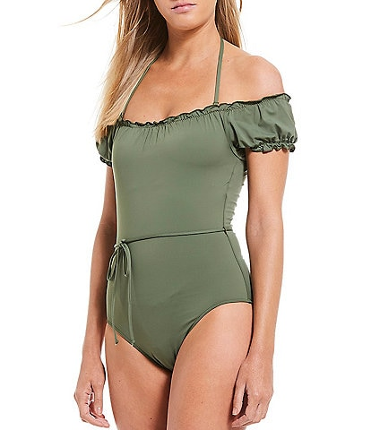 Cremieux Solid Ruffle Off-the-Shoulder Tie Belt One Piece Swimsuit