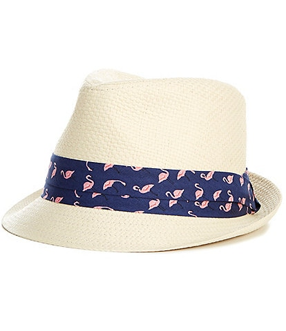 Cremieux Straw Fedora With Flamingo Print Band