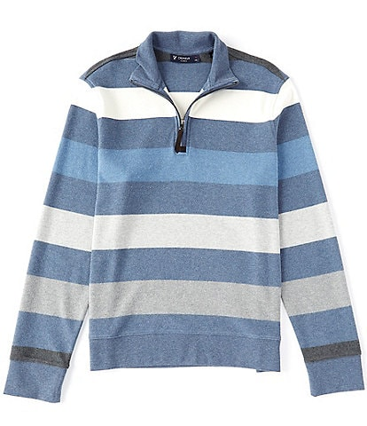Cremieux Sueded Quarter-Zip Stripe Pullover