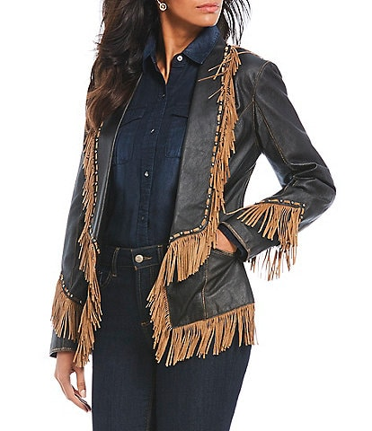 Cripple Creek Contrast Fringe Genuine Leather Jacket