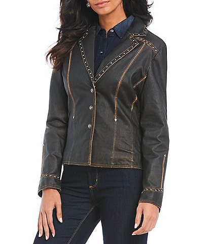 Cripple Creek Studded Genuine Leather Jacket