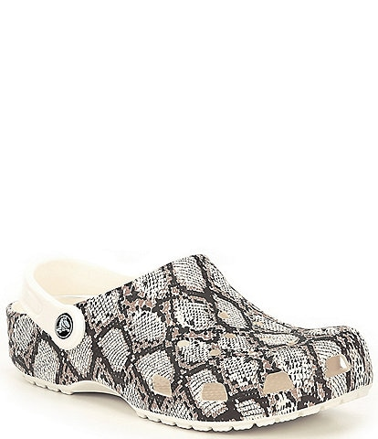 Crocs Women's Snake Printed Water Resistant Classic Clogs