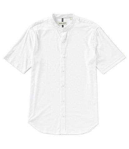 Crosby & Howard Short-Sleeve Interlock Banded Collar Coatfront Shirt